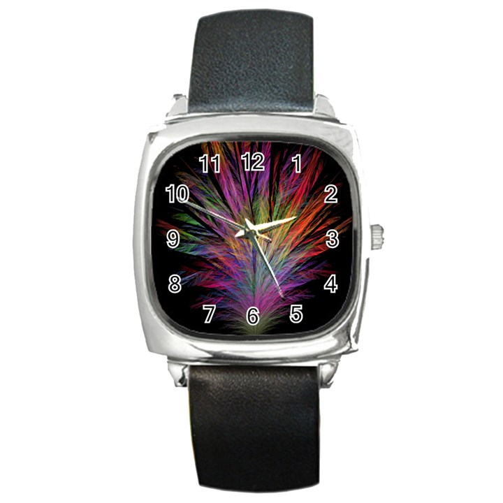 Fractal In Many Different Colours Square Metal Watch