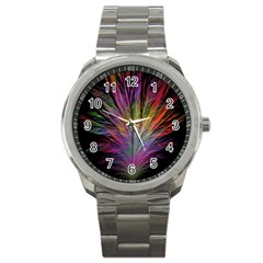 Fractal In Many Different Colours Sport Metal Watch