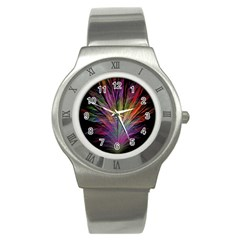 Fractal In Many Different Colours Stainless Steel Watch