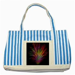 Fractal In Many Different Colours Striped Blue Tote Bag
