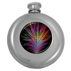 Fractal In Many Different Colours Round Hip Flask (5 oz)