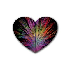 Fractal In Many Different Colours Rubber Coaster (heart)