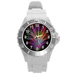Fractal In Many Different Colours Round Plastic Sport Watch (L)