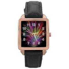 Fractal In Many Different Colours Rose Gold Leather Watch