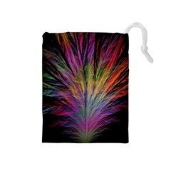 Fractal In Many Different Colours Drawstring Pouches (Medium)