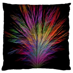 Fractal In Many Different Colours Large Flano Cushion Case (One Side)