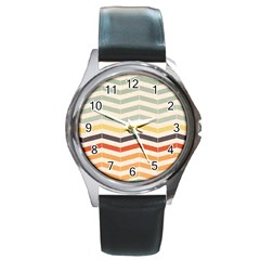 Abstract Vintage Lines Round Metal Watch