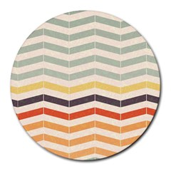 Abstract Vintage Lines Round Mousepads
