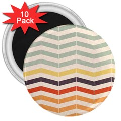 Abstract Vintage Lines 3  Magnets (10 Pack)