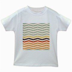 Abstract Vintage Lines Kids White T Shirts