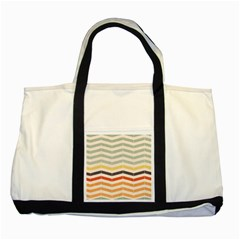 Abstract Vintage Lines Two Tone Tote Bag