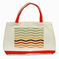 Abstract Vintage Lines Classic Tote Bag (Red)