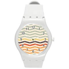 Abstract Vintage Lines Round Plastic Sport Watch (M)