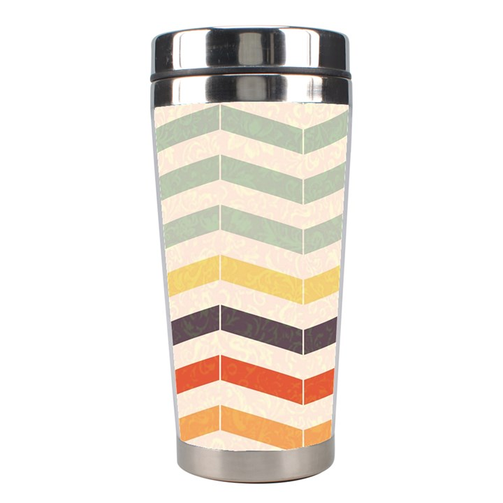 Abstract Vintage Lines Stainless Steel Travel Tumblers