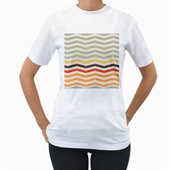 Abstract Vintage Lines Women s T-Shirt (White)