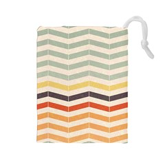 Abstract Vintage Lines Drawstring Pouches (Large)