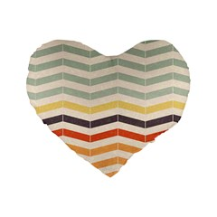 Abstract Vintage Lines Standard 16  Premium Flano Heart Shape Cushions
