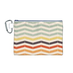 Abstract Vintage Lines Canvas Cosmetic Bag (M)