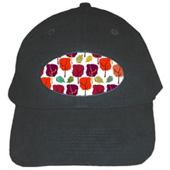 Colorful Trees Background Pattern Black Cap