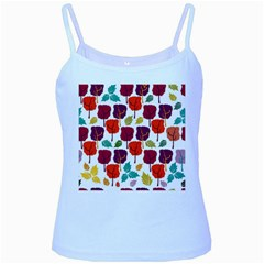 Colorful Trees Background Pattern Baby Blue Spaghetti Tank