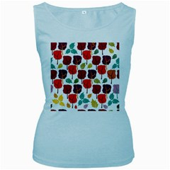 Colorful Trees Background Pattern Women s Baby Blue Tank Top