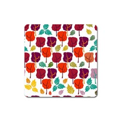 Colorful Trees Background Pattern Square Magnet