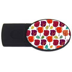 Colorful Trees Background Pattern Usb Flash Drive Oval (2 Gb)