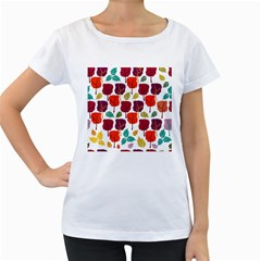 Colorful Trees Background Pattern Women s Loose Fit T Shirt (white)