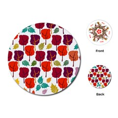 Colorful Trees Background Pattern Playing Cards (Round)