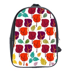 Colorful Trees Background Pattern School Bags(large)