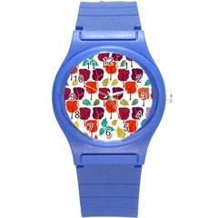 Colorful Trees Background Pattern Round Plastic Sport Watch (s)