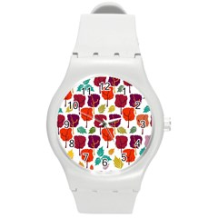Colorful Trees Background Pattern Round Plastic Sport Watch (M)