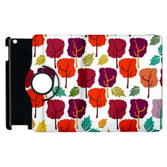 Colorful Trees Background Pattern Apple iPad 2 Flip 360 Case