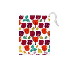 Colorful Trees Background Pattern Drawstring Pouches (Small)
