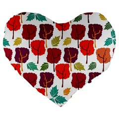 Colorful Trees Background Pattern Large 19  Premium Flano Heart Shape Cushions