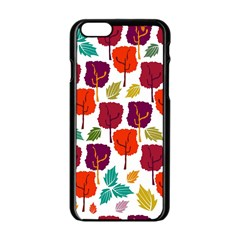 Colorful Trees Background Pattern Apple iPhone 6/6S Black Enamel Case