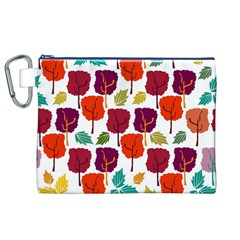 Colorful Trees Background Pattern Canvas Cosmetic Bag (XL)