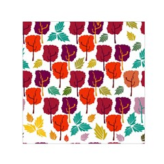Colorful Trees Background Pattern Small Satin Scarf (Square)