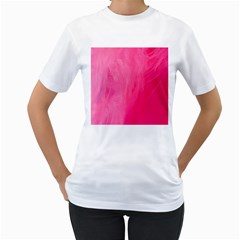 Very Pink Feather Women s T-Shirt (White) (Two Sided)