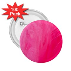 Very Pink Feather 2 25  Buttons (100 Pack)