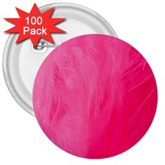 Very Pink Feather 3  Buttons (100 Pack)