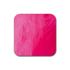 Very Pink Feather Rubber Coaster (Square)