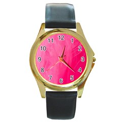 Very Pink Feather Round Gold Metal Watch