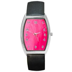Very Pink Feather Barrel Style Metal Watch