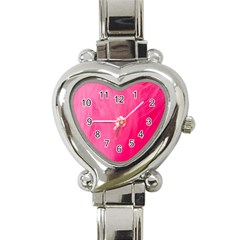 Very Pink Feather Heart Italian Charm Watch