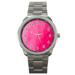Very Pink Feather Sport Metal Watch