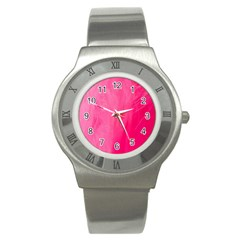 Very Pink Feather Stainless Steel Watch