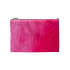 Very Pink Feather Cosmetic Bag (medium)