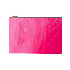 Very Pink Feather Cosmetic Bag (large)
