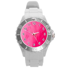Very Pink Feather Round Plastic Sport Watch (L)